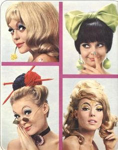 1960s hair, makeup, and accessories.                                                                                                                                                                                 More