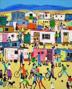 african township art - Google Search Black Art Painting, South African Art, Flower Collage, African Crafts, Public Art, Public Spaces, Project Board, Art Google, My Children