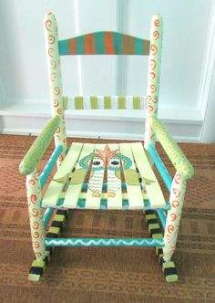 Painted Child Rocking Chair  Hand Painted  Custom  by WhimsyBurd, $138.00