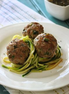 Asian Turkey Meatballs With Lime Sesame Dipping Sauce on zucchini noodles