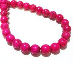 Pink Round Beads Round Howlite Gemstone Beads Smooth by BijiBijoux