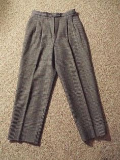 JH Collectibles sz 16 Gray Plaid Tweed 100% Wool Pleated Lined Dress Pants 32x28 #JHCollectibles #DressPants