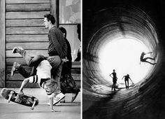 Old school skateboarding...totally digging the full pipe.