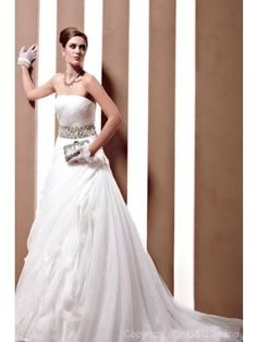 Elegant A-Line Strapless Satin and Organza with Beading Chapel Train Wedding Dress WAL06473-G