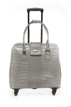 Crocodile Grey Fashion Trolley Bag Hang Accessories Boarding Pass Credit Cards Contents