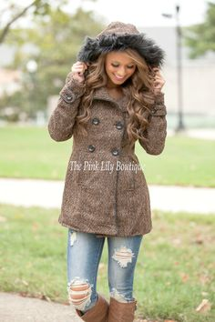 The Pink Lily Boutique - Living The Good Life Brown Coat , $54.00 (http://thepinklilyboutique.com/living-the-good-life-brown-coat/)