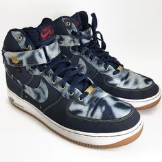 ddf1cbc5a811 Nike Air Force 1 High 07 Mens Size 11 Blue Hi Top Shoes 631039-400 2013  Denim