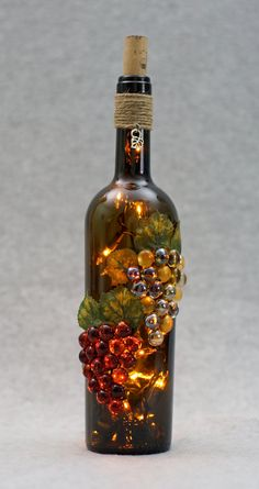 This beautiful green lighted wine bottle by VineyardAccents1