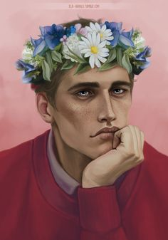 Flower crown Adam Parrish from The Raven Cycle by xla-hainex