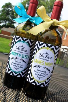 Baby Shower Wine Labels, New Mommy wine labels