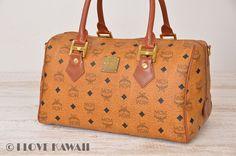MCM Cognac Visetos PVC / Brown Leather Hand Bag 30