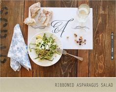 Ribboned Asparagus Salad   CHECK OUT MORE IDEAS AT WEDDINGPINS.NET   #weddingfavors