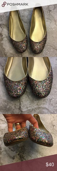 Nine West Rainbow Glitter Sparkle Flats 9M Nine West Rainbow Glitter Sparkle Flats 9M  📦Same day shipping if P.O. Open ❤ Measurements approximate. Descriptions accurate to the best of my knowledge  Rainbow colored glitter sparkle flats with gold trim from Nine West. Add a fun girly pop to any outfit with these comfy little flats. Footbed has some cushioning with a solid bottom. They are not floppy like a ballet flat. See close up photos for minimal signs of wear. Smoke/pet free home. Nine…