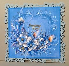 winter flowers sympathy on Craftsuprint designed by Cynthia Berridge - made by Kristina Norbat - Printed on good quality photo paper cutout and layered onto a blue punched out backing then onto a blank card added pearls and gold sentiment to complete this beautiful card. - Now available for download!