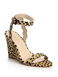 Loeffler Randall - Piper Cheetah-Print Calf Hair Scallop Wedge Sandals