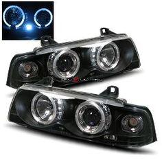 92-98 BMW E36 2 Door Halo Projector Headlights - Black