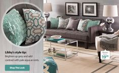 Sophisticated Style via Walmart.com Brighten up grey and add contrast with pale aqua accents.