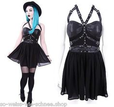 Restyle Kleid Harness Korsett Gürtel Kunst-Leder Gothic Dress Steampunk Witchy