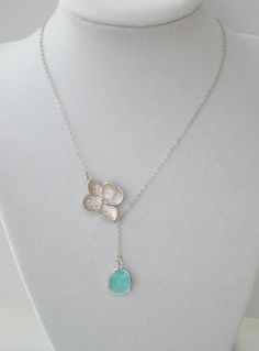 Silver Flower and Blue Stone Lariat