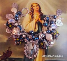 Catholic Virgin Mary Stella Maris, Saints Religious Medals Bracelet - Invoked against the stormy seas of life www.letyscreations.com #catholic #virginmary #stellamaris #religious #jewelry