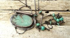 Long Necklace with Oval Natural Chrysoprase Pendant in by annamei