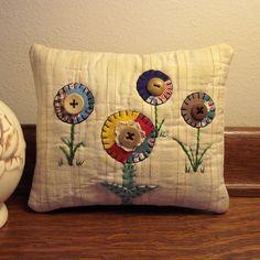 prim flower paintings | Primitive Folk Art Fabric Art Flower Pillow on Vintage Quilt