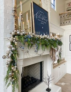 Today I am sharing my holiday living room- blue and metallic accents throughout. A custom blue sign says everthing about this years christmas theme. Blue Christmas Decor, Very Merry Christmas, Outdoor Christmas, Christmas Themes, Holiday Decor, Elegant Christmas, White Christmas, Holiday Ideas, Christmas Tablescapes