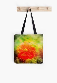 Whimsical Red Flower Digital Collage Tote Bag