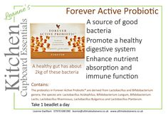 Forever Active Probiotic is a great source of good bacteria and promotes a healthy digestive system. The probiotics enhance nutrient absorption and immune fucntion