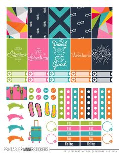 Travel Free Printable Planner stickers for the classic size Happy Planner. Includes 2 full pages of planner stickers.