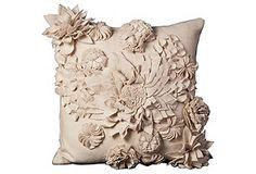Pop Flower 20x20 Pillow, Ivory - Texture!