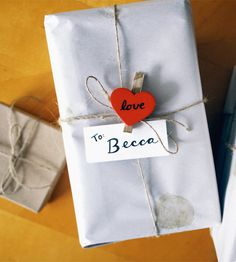 Rustic Wooden Heart Clothespin Gift Tags