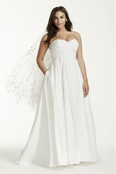 PLUS SIZE WEDDING DRESS OF THE DAY | David's Bridal.  I love the pockets!