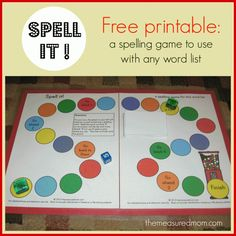 FREE spelling game for any word list! Great for kids from Kindergarten to grade 3.
