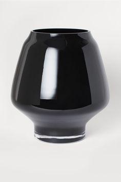 Grand vase en verre - Noir - Home All Round Glass Vase, My Glass, Clear Glass, Schwarz Home, Grand Vase En Verre, Black White Bedrooms, Home Interior Accessories, H & M Home, Material Library
