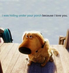 I was hiding under your porch because I love you
