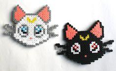 Sailor Moon CATS Luna and Artemis perler fuse bead art by kiddotv