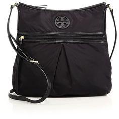 Tory Burch Nylon & Leather Swingpack Crossbody Bag ($225) ❤ liked on Polyvore