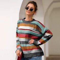 Casual 2019 Pullover Womens Sweaters O-neck Long Sleeve Striped Harajuku Fall Winter Sweater Women Korean Style Casual Sweaters, Winter Sweaters, Pullover Sweaters, Jumpers For Women, Sweaters For Women, Velvet Fashion, Loose Sweater, Color Block Sweater, Knit Shirt