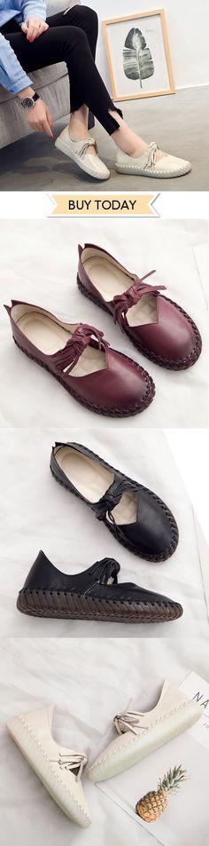 d5f253c86c0 SOCOFY Casual Tassel Bowknot Stitching Leather Soft Flat Shoes   newchicshoes  summersandals  flatshoes