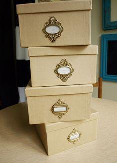 Embellish plain storage boxes with ornate Tim Holtz bookplates to make organizing glamorous! via Less-Than-Perfect Life of Bliss