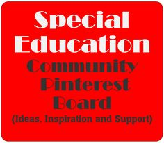 The Special Education Community Pinterest Board has Inspiring pins and cool ideas about teaching special learners. Resource room teachers, self-contained classroom teachers, special education teachers, autism teachers, teachers of students who are hard of hearing or have visual impairments and general education teachers welcomed. #specialeducation #community #board