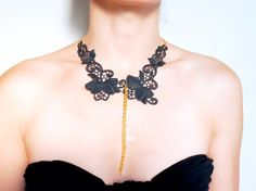 black floral lace gold chain charmed choker necklace  by LaceFancy