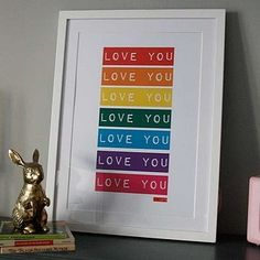 'Love You' Retro Tape Art Print by Crafteratti, the perfect gift for Explore more unique gifts in our curated marketplace. Dymo Label, Art Terms, Personalised Frames, Tape Art, Types Of Printing, Framed Prints, Art Prints, Dado, Plexus Products