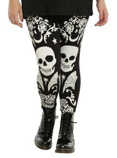 <div>Skulls and roses and wings, oh my! These leggings have the coolest…
