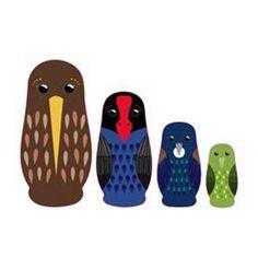 Wooden NZ Native Birds Nesting Dolls - Squoodles Ltd Cool Toys, Nativity, Birds, Dolls, Fun, Crafts, Baby Dolls, Manualidades, The Nativity