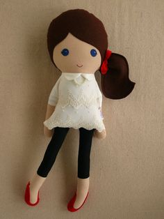 Reserved for Nikole Fabric Doll Rag Doll Brown by rovingovine