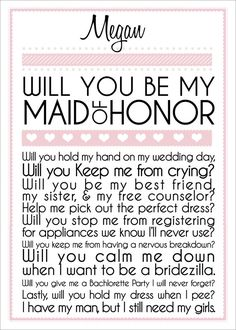 Maid of Honor.