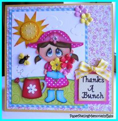 Thanks a Bunch card created by PAPER PIECING MEMORIES BY BABS using patterns from KaDoodle Bug Designs. Stamped sentiment by Craftin Desert Divas.