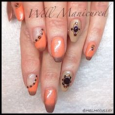 These nails are definitely in the MOOD.  Gel color in Desert Sunrise from @LeChat Nail Care, color changing gel polish. #wellmanicured #moodgel #gradient #gradientnails #nailart #fade #gel #lechat #ballerinanails #coffinnails #manhattanbeach #la #manicureaddict #manicure #nailartist #naildesign #nails2desire #nails #orange #jewels #Padgram